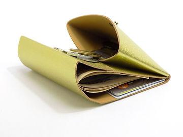 コンパクトサイズでコインスペースをメインにカード、お札が入ります。コインケース ゴールド
