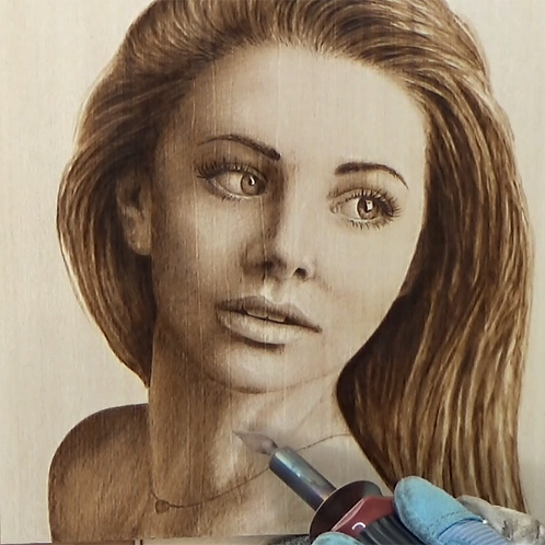 How to Woodburn a Portrait of a Woman (Video, PDF and Pattern)