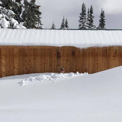 My husband shoveling snow