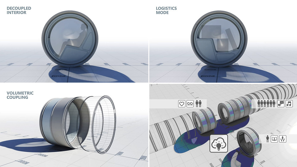 Various functions of the Flywheel. The mobile interior allows for multifunctionality thus combing transport of people and goods. The coupling of subunits to form larger assemblies not only leads to a more efficient use of the resource but also creates new social and economic opportunities.