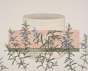Rosemary Garden, color on Korean paper,