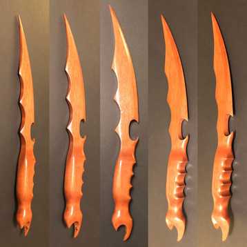 """17"""" long oak cutlass dubbed, """"Thunderstruck"""". It was lovingly commissioned for a huge fan of blades, knives, and pirates."""