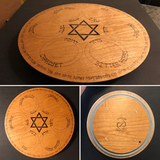 "13.5"" Lazy Susan Pesach Seder Plate! Hand crafted from veneered plywood, all designs and text have been wood burnt by hand. The border has the entire Four Questions. - $360"