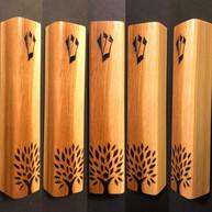 "5"" cedar wood mezuzah case with Oregon Hillel's Tree of Life logo."