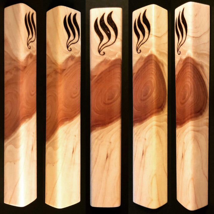 "5.5"" cedar wood mezuzah case. - $45"