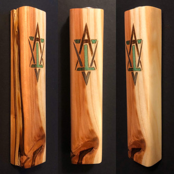 "5"" cedar wood mezuzah case with ""AVI"" Star of David - Sold"