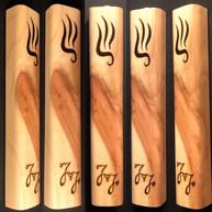 "5"" cedar wood mezuzah case (wedding gift) with initials ""J&J"" wood burnt by hand."