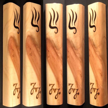 "5"" cedar wood mezuzah case (wedding gift) with initials ""J&J"" wood burnt by hand."