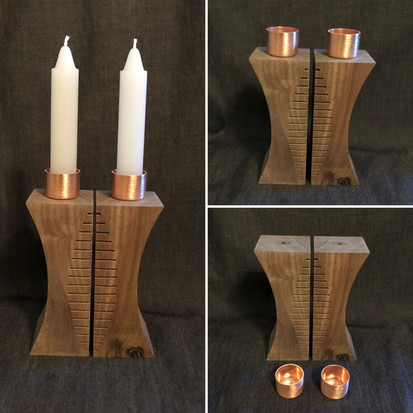 "5"" tall Shabbat Candle sticks handcrafted from walnut wood. They are topped with magnatized steal brushed copper candle holders. - $200 - Sold"