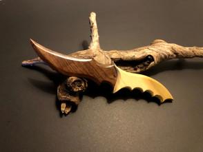 "10"" Walnut blade with side-panelled poplar wood handle. $175"