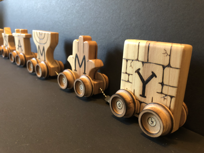 Personalized Judaica themed toy train.