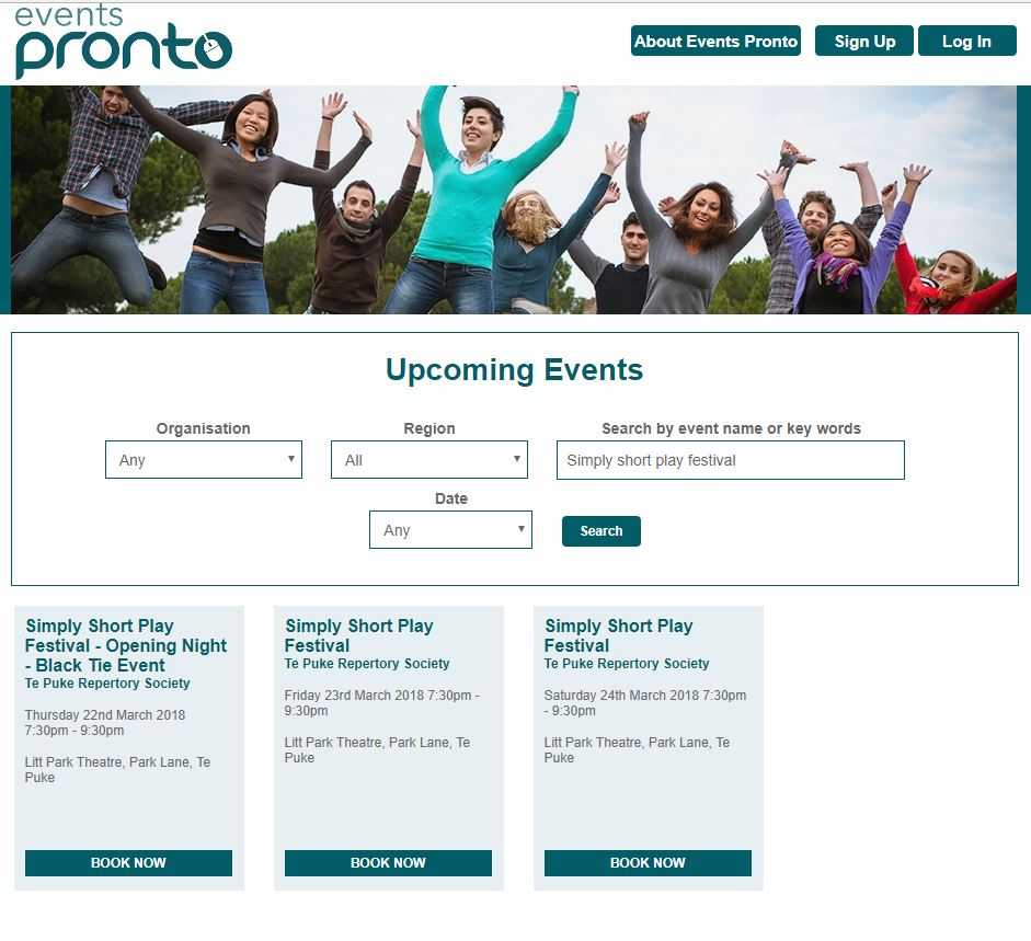 Events Pronto booking page