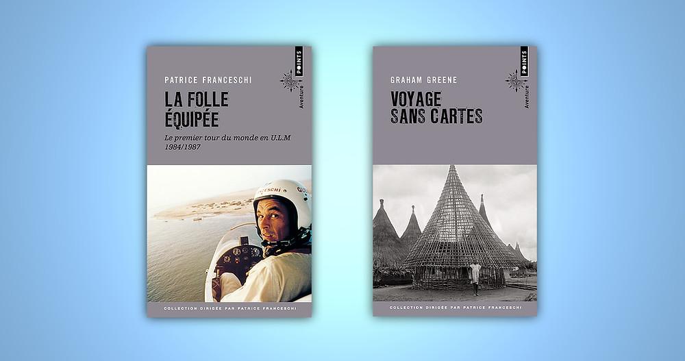 """Couvertures des livres """"La folle équipée"""" et """"Voyage sans cartes"""""""