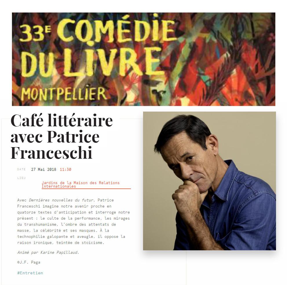 Affiche pour le café littéraire avec Patrice Franceschi