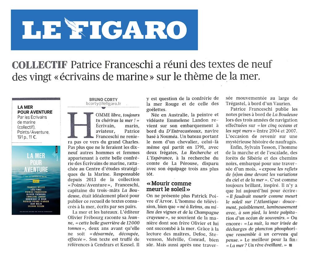 """Article sur """"La mer our aventure"""" paru dans """"Le Figaro Littéraire"""""""