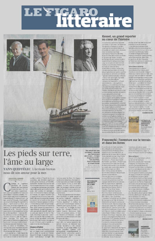 """Article du """"Figaro Littéraire"""" sur Yann Queffélec et Patrice Franceschi"""