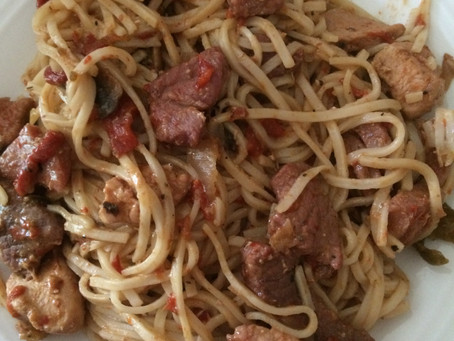 Fiery Meat Medley with Noodles