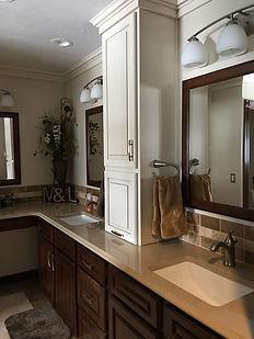 Bathroom remodel, subway tile backsplash, double sinks