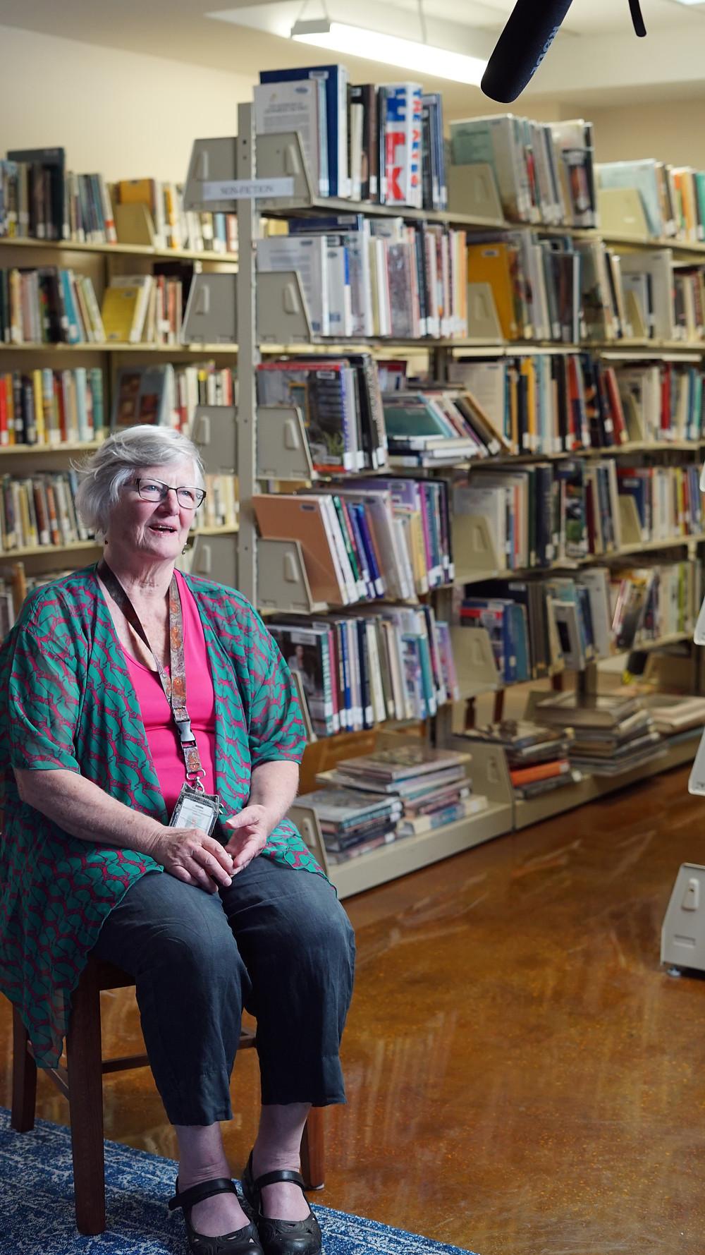 Molly, a librarian for Cedar Key's Library