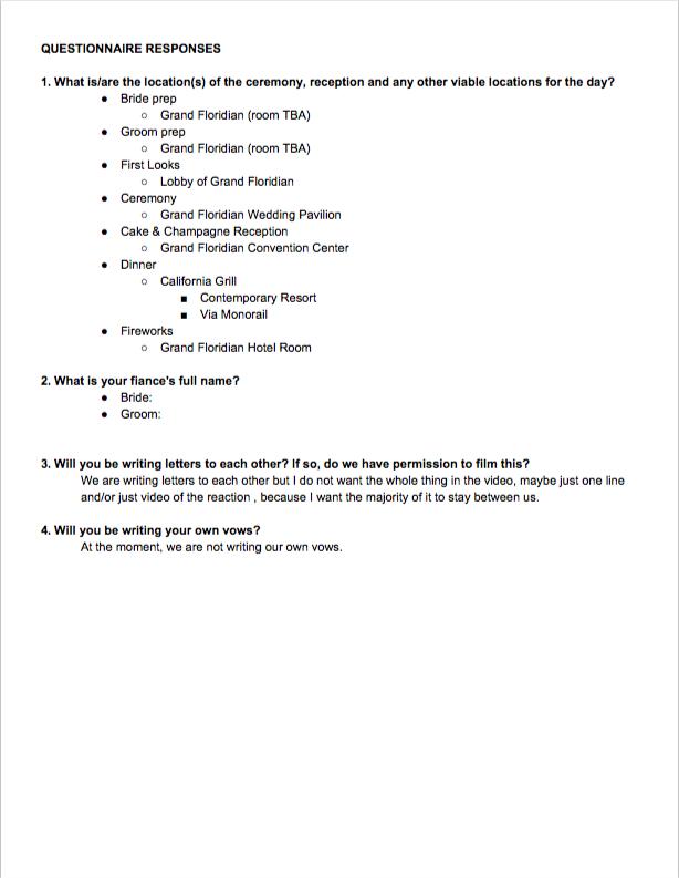 wedding questionnaire