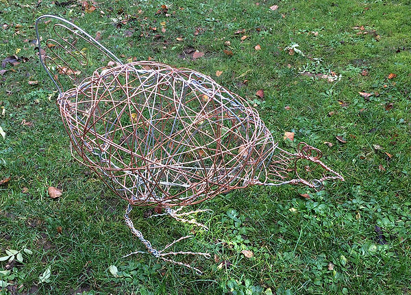Mixed wire garden sculpture. Free-standing, lifesize. Commisions from £150