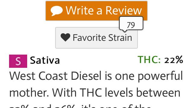 West coast sour diesel 95% sativa 5% Indica THC 30