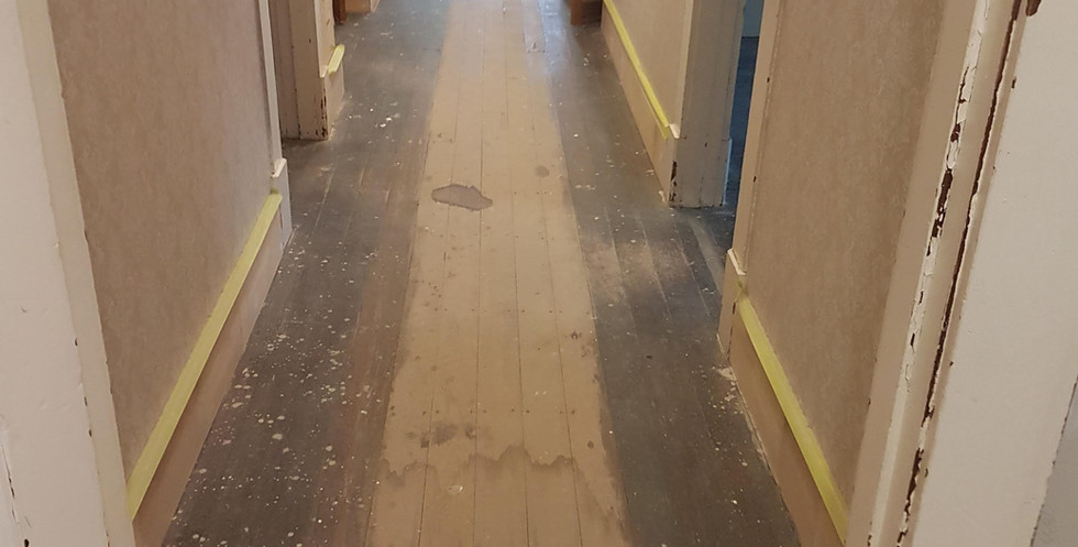 Hallway with creasote staining