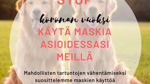 Toimintaohjeet eläinlääkäriin saapumiseen korona-aikana - päivitetty 23.9.2021
