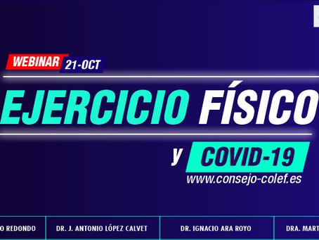 Webinar sobre 'Ejercicio físico y COVID-19' con expertos de reconocido prestigio