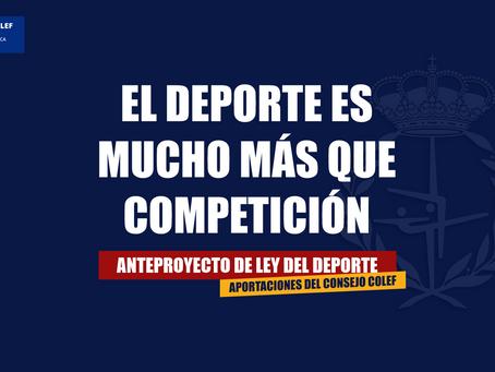 Aportaciones al Anteproyecto de Ley del Deporte: el deporte es mucho más que competición