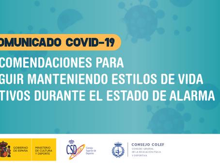 CSD y Consejo COLEF recomiendan moverse durante el estado de alarma