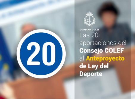 Las 20 aportaciones del Consejo COLEF con las que el Anteproyecto de Ley del Deporte podría mejorar