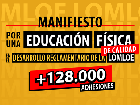 Más de 128.00 apoyos al Manifiesto por una EF de Calidad en el desarrollo de la LOMLOE