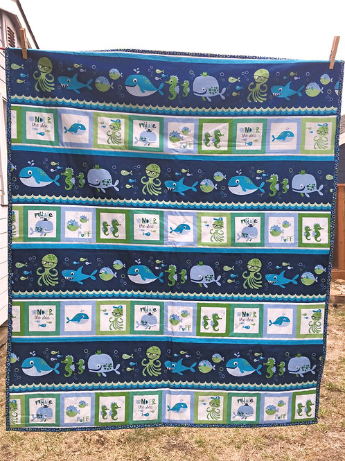 A Whale of a Time Minky Blanket