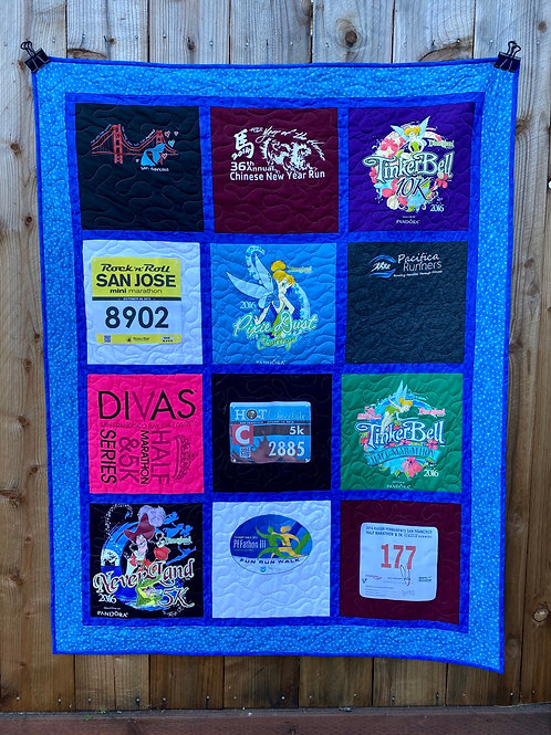 Running TShirt Quilt - Memory Quilt - Upcycled Clothes