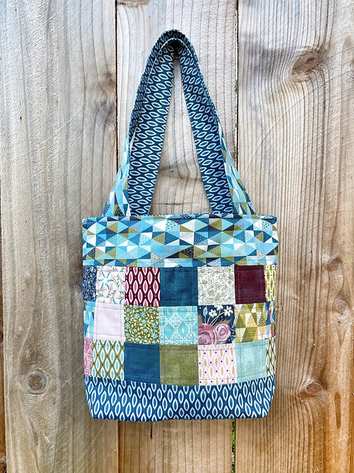 Retro Blues Quilted Tote