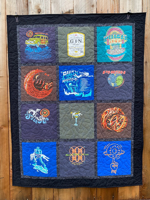 Phish TShirt Quilt - Memory Blanket - Concert - Graduation - Upcycled Clothes