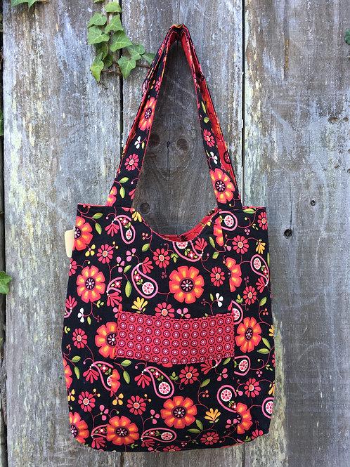 Black & Red Floral Handbag
