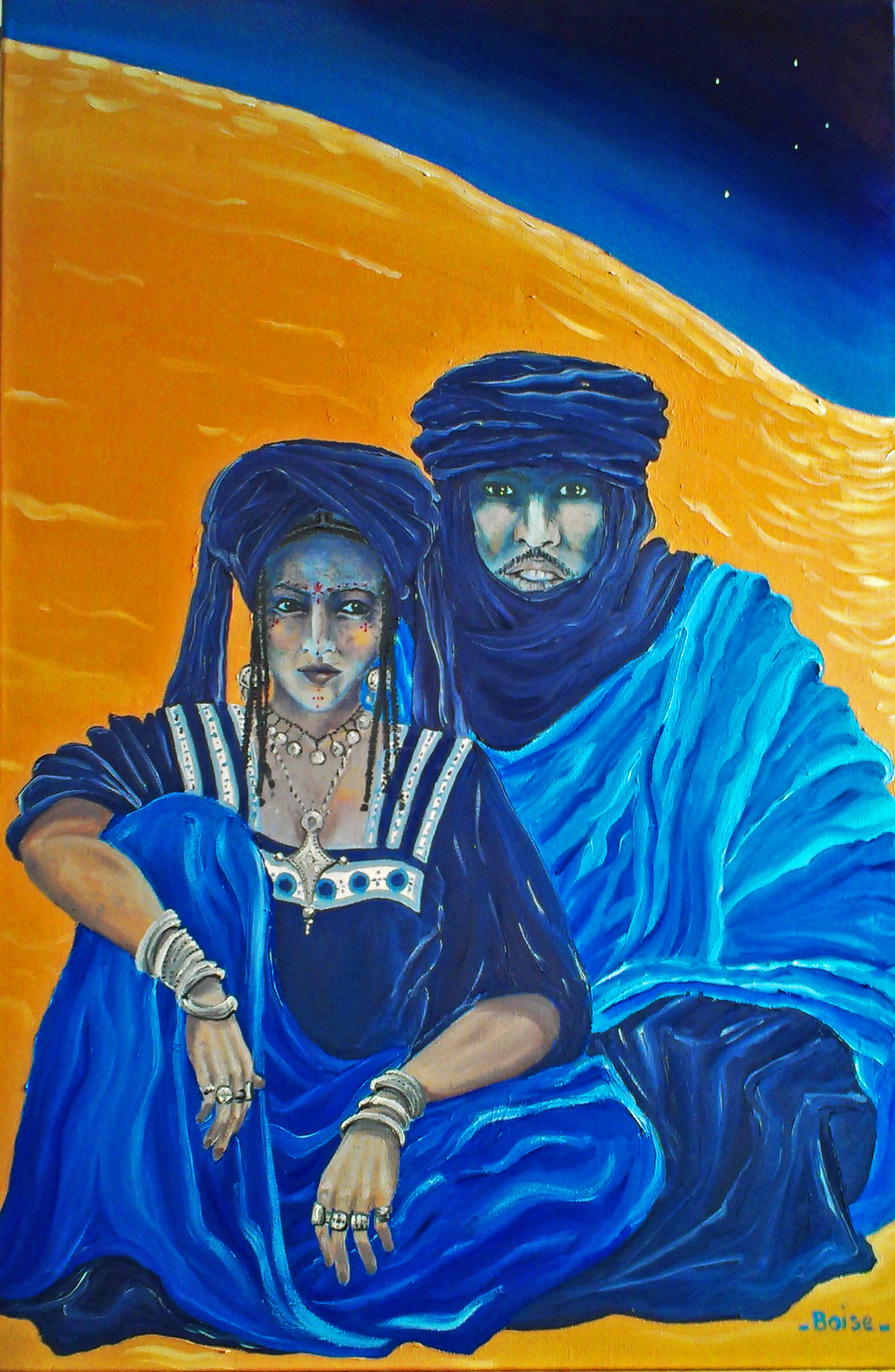 Touareg couple. Oil on canvas