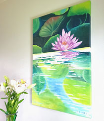 Picture of a painting with lotus flower , leaves and water
