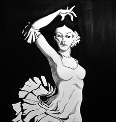 Black anbd white china ink sketches of Flamenco dancer with emphasis on arm/hands grace and ruffles.