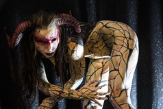 Cracked earth Demon girl