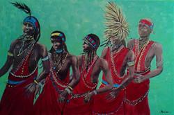 Masai men dancing in unison
