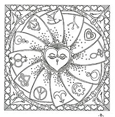Love Love. mandala coloring template. contains 12 symbols of love from around the world.