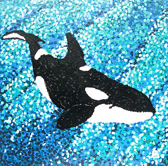 West Coast Killer Whale. painted in dots pointiism style. Blues turquoise black and white colors