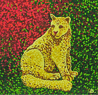 Mountain Lion. Pointiism style. Green yellow and pink colour scheme