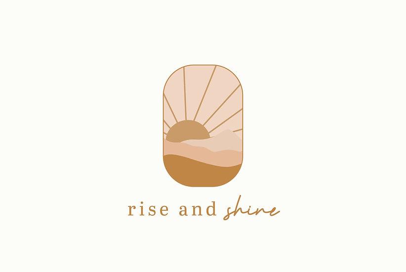 Rise and Shine hand drawn sun premade logo