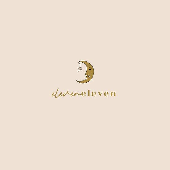 Eleven Eleven hand drawn moon premade logo