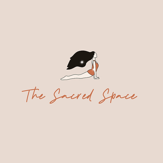 The Sacred Space hand drawn yoga premade logo