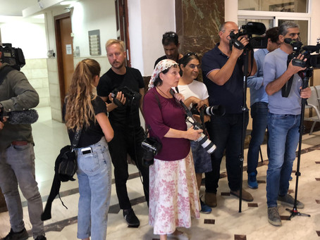 Filming in Jerusalem courthouse for the Australian TV